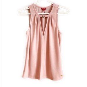 Guess Pink Sleeveless V-Neck Blouse